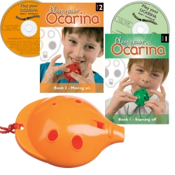 Orange 4-hole Oc with Book 1 and CD + Book 2 and CD