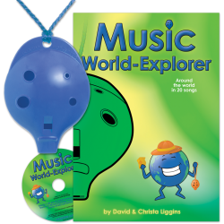 Blue 4-hole Oc with Music World-Explorer and CD