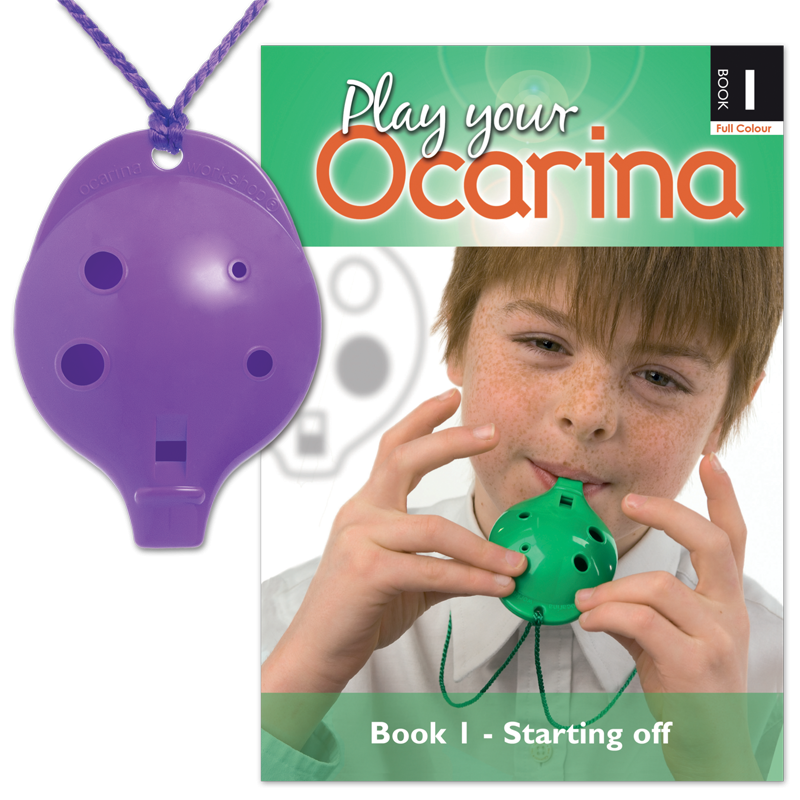 OCARINA SET six colours 4-hole plastic Ocarina and Book 1